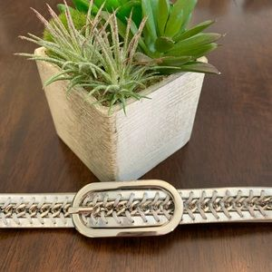 Nine West Silver Belt with Chain Accent